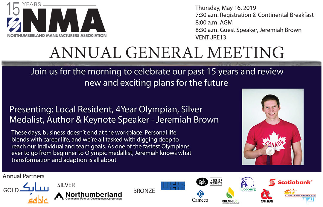 Join us for the morning to celebrate our past 15 years, review new and exciting plans for the future and be inspired by special guest speaker, Jeremiah Brown, The 4 year Olympian. Schedule: 7:30 am – Registration, 8:00 am – AGM, 8:30 am - Guest Speaker, Jeremiah Brown, No charge to attend. Guest Speaker Jeremiah Brown - A bestselling author and gifted speaker, Jeremiah uses his business acumen as a former commercial banker, a leader working within the Canadian Olympic Committee, and collaborator with some of Canada's largest companies to apply the lessons of his four-year Olympic journey to the challenges facing people today.These days, business doesn't end at the workplace. Personal life blends with career life, and we're all tasked with digging deep to reach our individual and team goals. As one of the fastest Olympians ever to go from beginner to Olympic medallist, Jeremiah knows what transformation and adaption is all about.