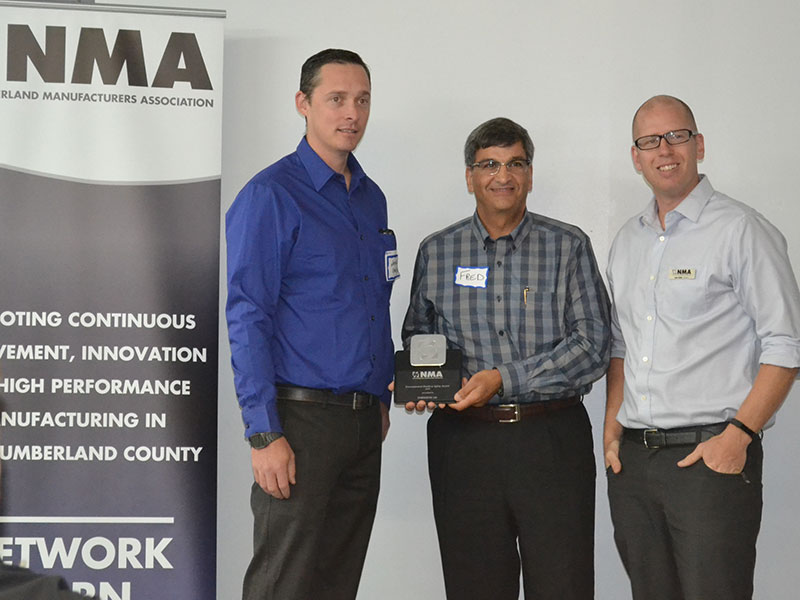 Environmental/Health & Safety Award – Pictured: Nathan Coyle and Fred Kosseim (Chem-Ecol) and Dan Ross, NMA President