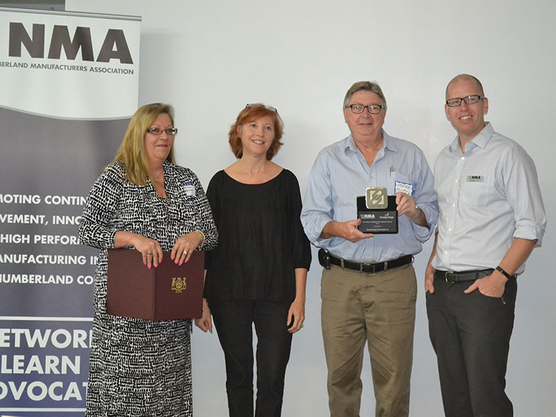 Investing in Employee Development Award – Pictured: Representing Lou Rinaldi – Darlene Warner; Fleming College – Deborah Stanford; Canadian Wear Technologies – Brad Shehan; NMA President, Dan Ross